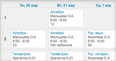 Расписание и уроки
